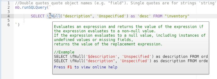 SQL Token Tooltip